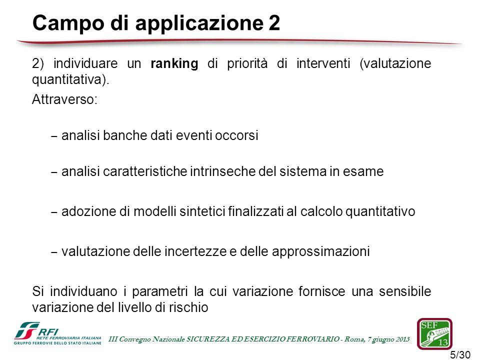Campo di applicazione 2 2) individuare un ranking di priorità di interventi (valutazione quantitativa).