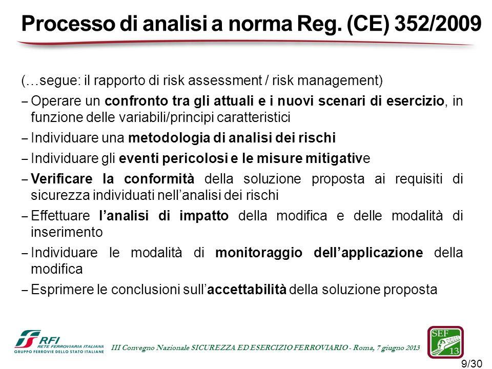Processo di analisi a norma Reg. (CE) 352/2009