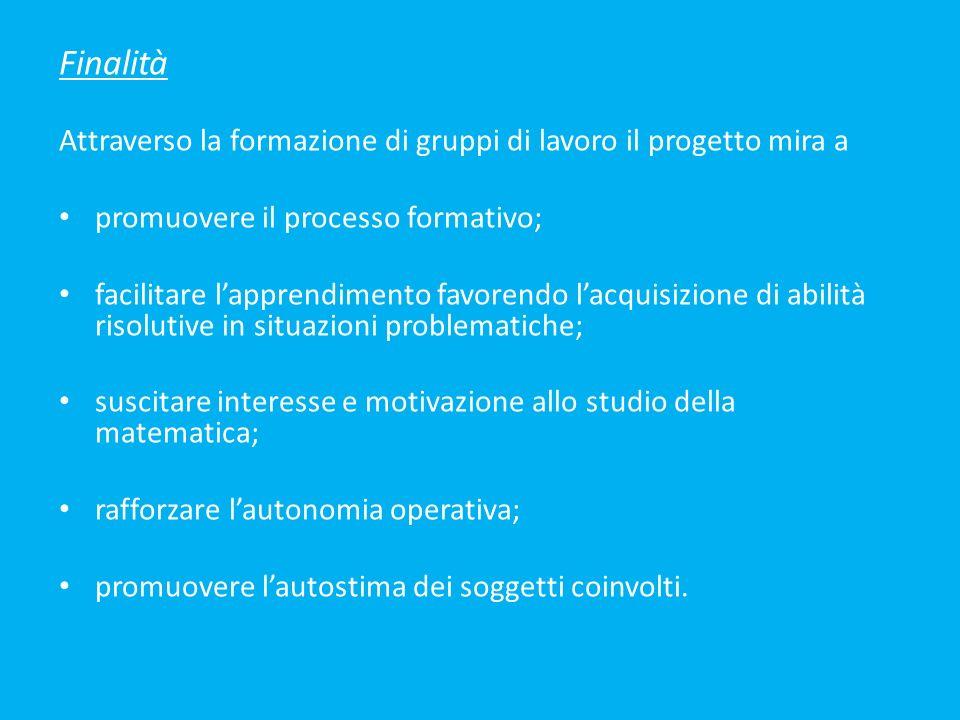 Finalità Attraverso la formazione di gruppi di lavoro il progetto mira a. promuovere il processo formativo;