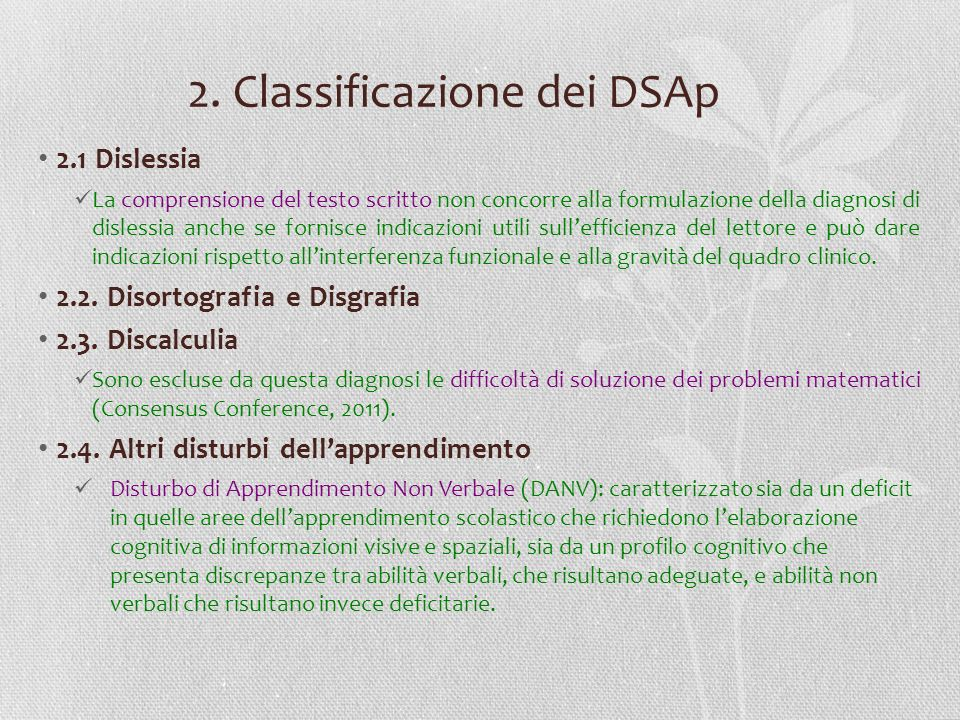 2. Classificazione dei DSAp