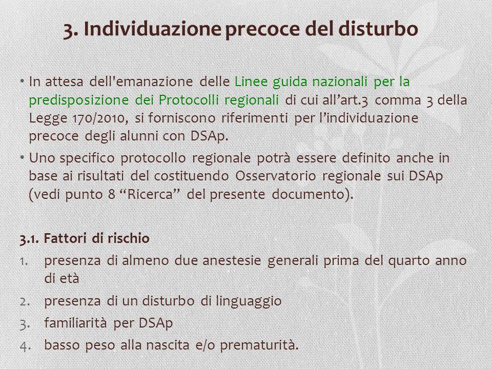 3. Individuazione precoce del disturbo