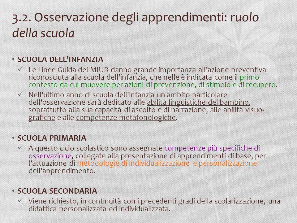 3.2. Osservazione degli apprendimenti: ruolo della scuola