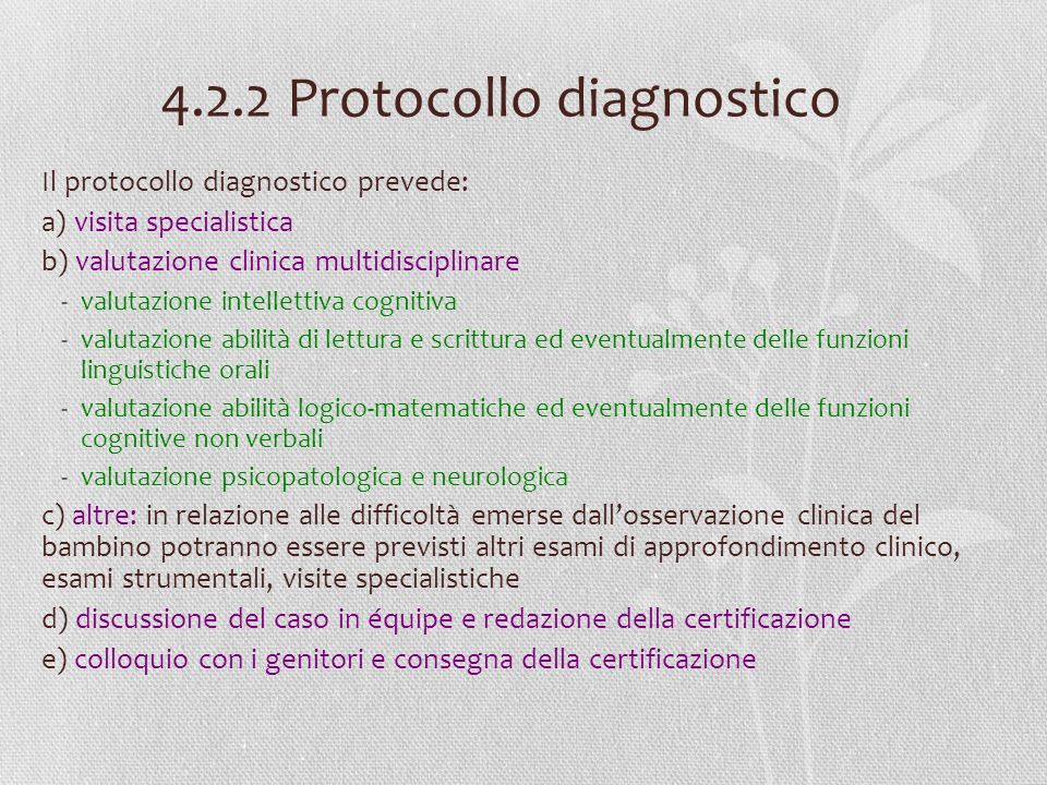 4.2.2 Protocollo diagnostico