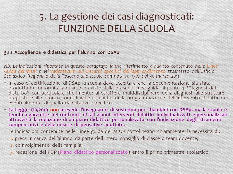 5. La gestione dei casi diagnosticati: FUNZIONE DELLA SCUOLA