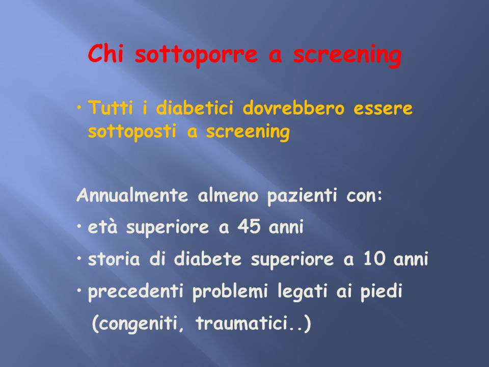 Chi sottoporre a screening