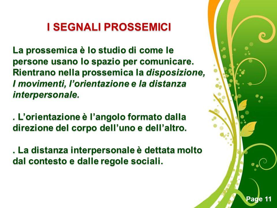 I SEGNALI PROSSEMICI La prossemica è lo studio di come le persone usano lo spazio per comunicare. Rientrano nella prossemica la disposizione,