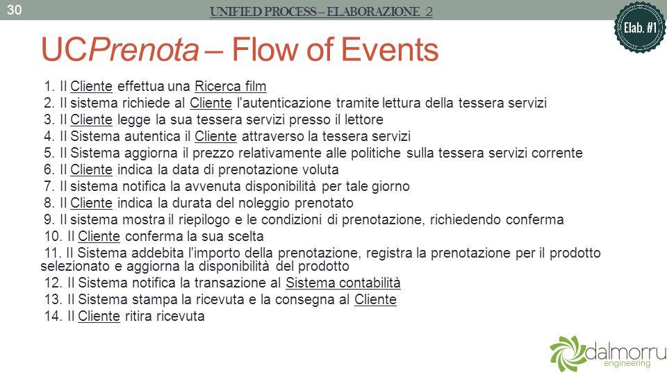 UCPrenota – Flow of Events