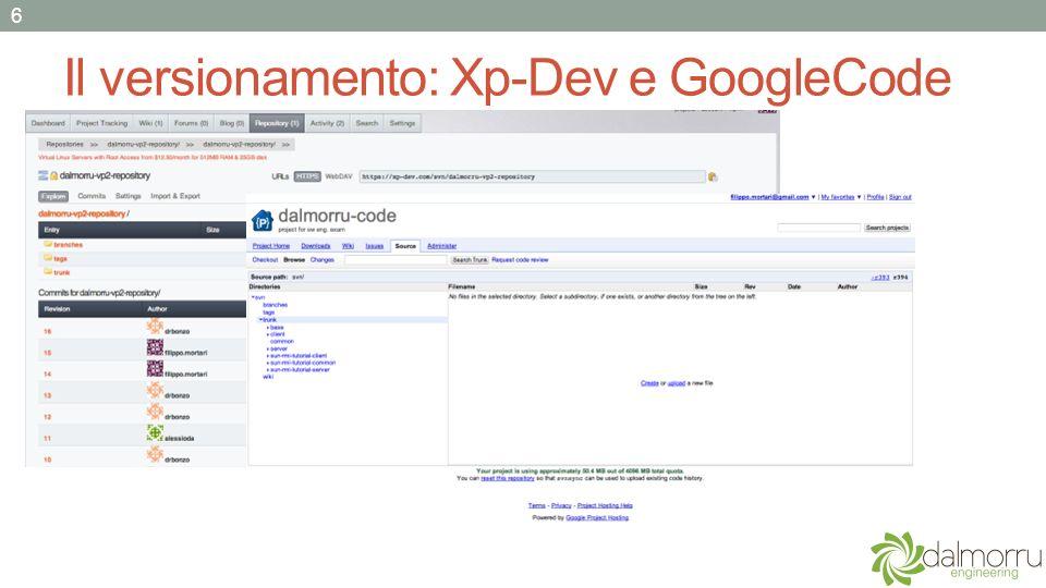 Il versionamento: Xp-Dev e GoogleCode