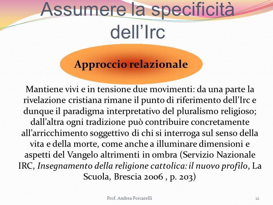 Assumere la specificità dell'Irc