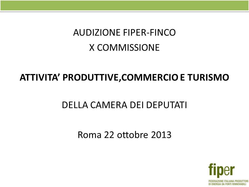 AUDIZIONE FIPER-FINCO X COMMISSIONE ATTIVITA' PRODUTTIVE,COMMERCIO E TURISMO DELLA CAMERA DEI DEPUTATI Roma 22 ottobre 2013