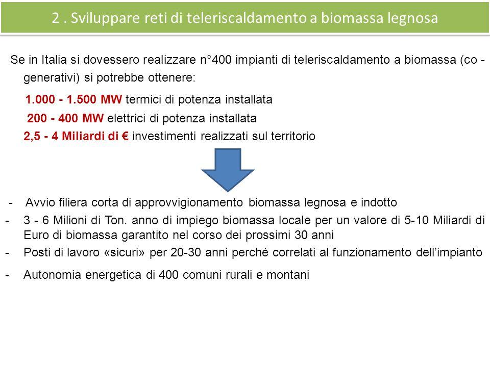 2 . Sviluppare reti di teleriscaldamento a biomassa legnosa