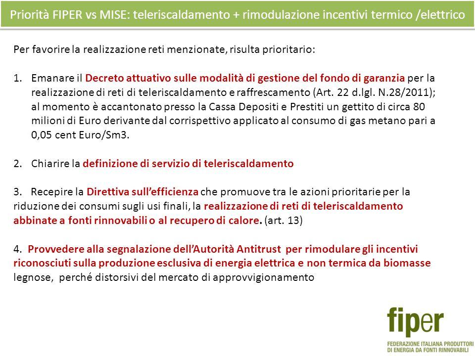 Priorità FIPER vs MISE: teleriscaldamento + rimodulazione incentivi termico /elettrico