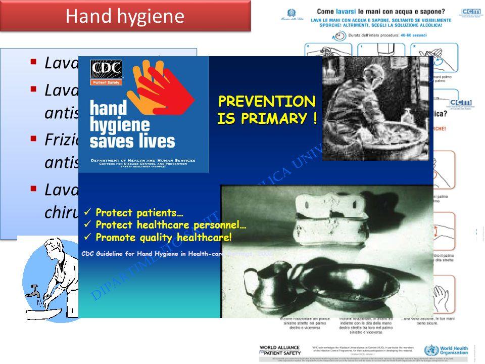 Hand hygiene Lavaggio sociale Lavaggio antisettico