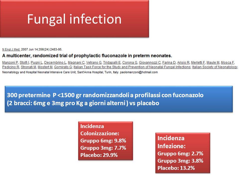 Fungal infection 300 pretermine P <1500 gr randomizzandoli a profilassi con fuconazolo. (2 bracci: 6mg e 3mg pro Kg a giorni alterni ) vs placebo.