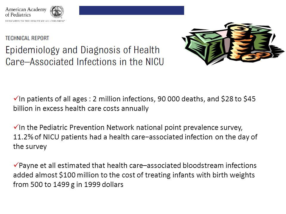 In patients of all ages : 2 million infections, 90 000 deaths, and $28 to $45 billion in excess health care costs annually