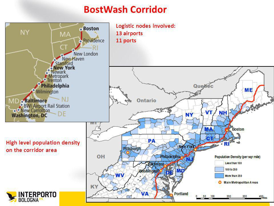 BostWash Corridor Logistic nodes involved: 13 airports 11 ports