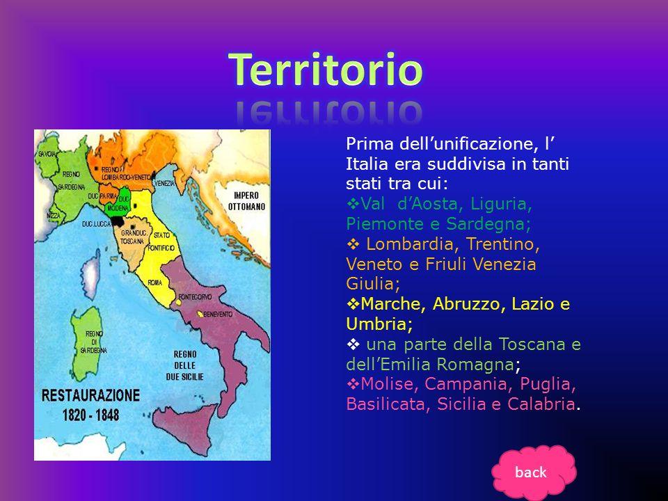 Territorio Prima dell'unificazione, l' Italia era suddivisa in tanti stati tra cui: Val d'Aosta, Liguria, Piemonte e Sardegna;