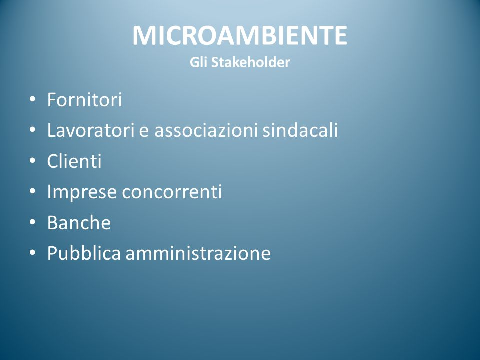 MICROAMBIENTE Gli Stakeholder