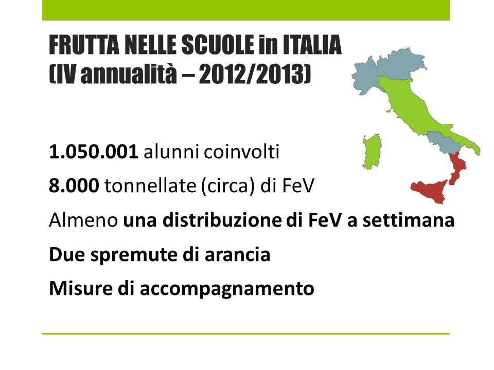 FRUTTA NELLE SCUOLE in ITALIA (IV annualità – 2012/2013)