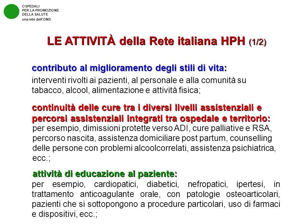 LE ATTIVITÀ della Rete italiana HPH (1/2)