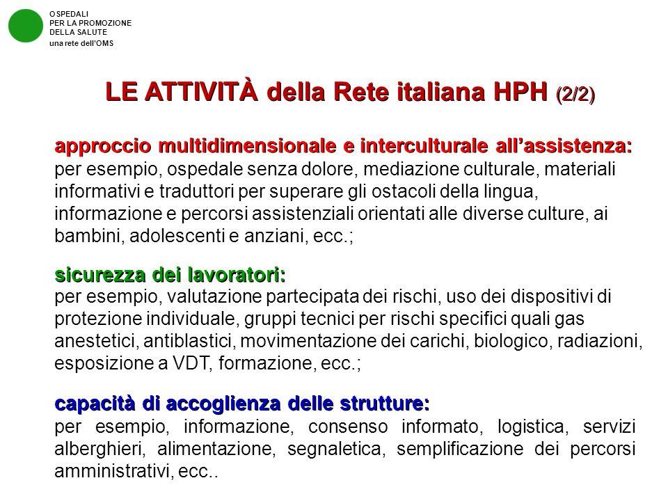 LE ATTIVITÀ della Rete italiana HPH (2/2)