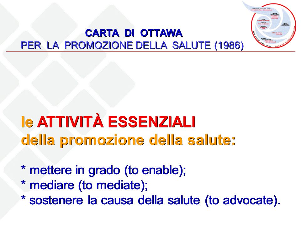 PER LA PROMOZIONE DELLA SALUTE (1986)