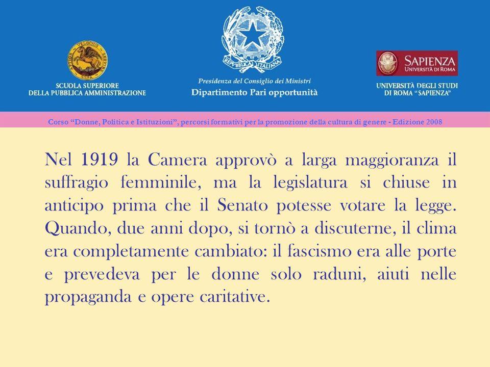 Nel 1919 la Camera approvò a larga maggioranza il suffragio femminile, ma la legislatura si chiuse in anticipo prima che il Senato potesse votare la legge.
