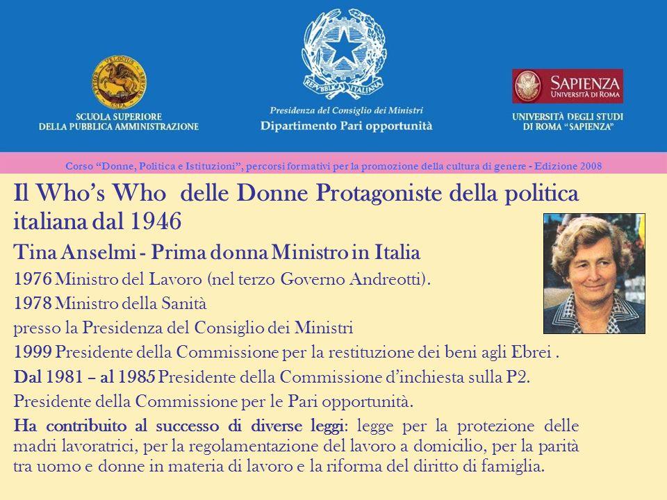 Il Who's Who delle Donne Protagoniste della politica italiana dal 1946
