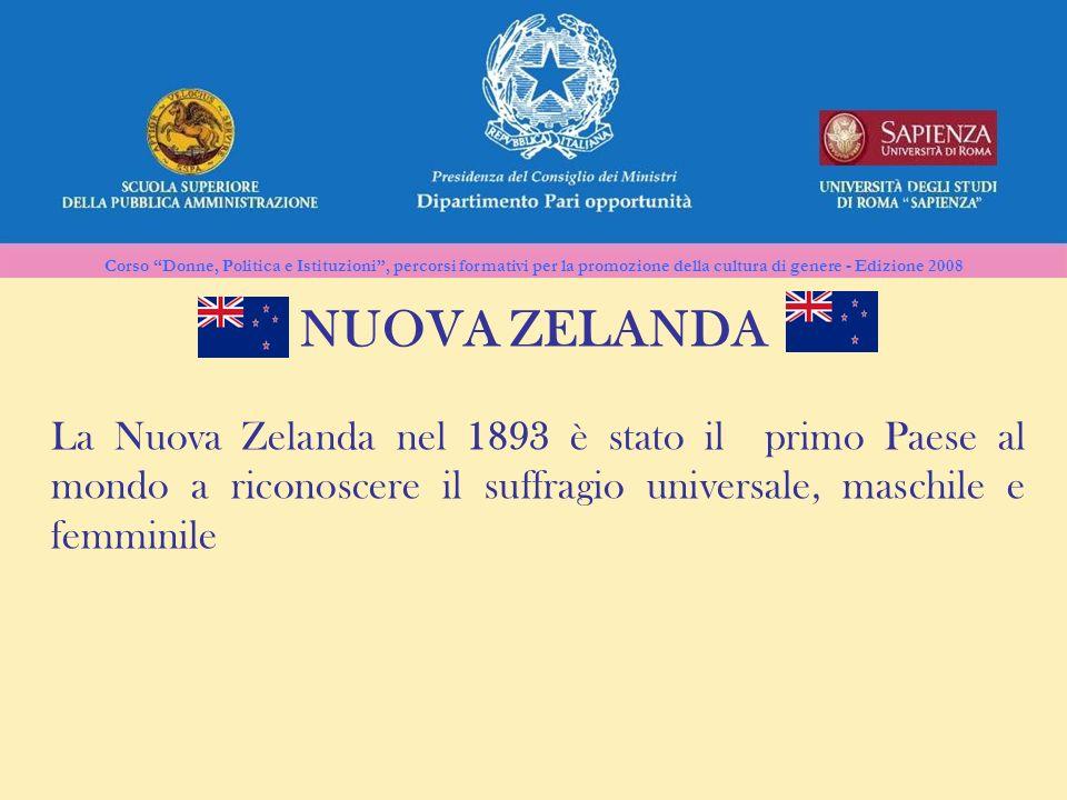 NUOVA ZELANDA La Nuova Zelanda nel 1893 è stato il primo Paese al mondo a riconoscere il suffragio universale, maschile e femminile.