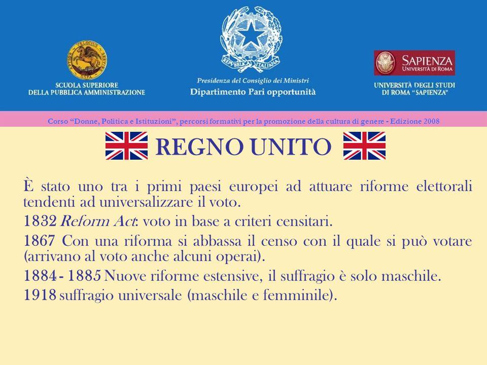 REGNO UNITO È stato uno tra i primi paesi europei ad attuare riforme elettorali tendenti ad universalizzare il voto.