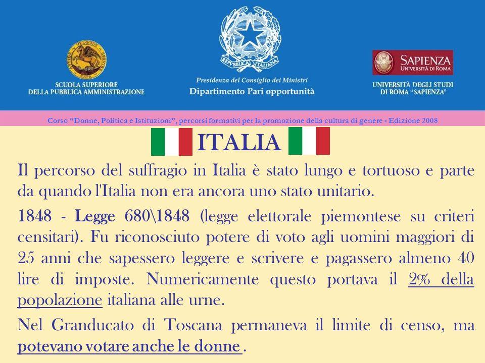 ITALIA Il percorso del suffragio in Italia è stato lungo e tortuoso e parte da quando l Italia non era ancora uno stato unitario.