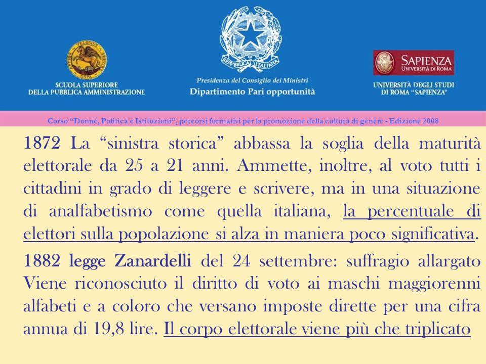 1872 La sinistra storica abbassa la soglia della maturità elettorale da 25 a 21 anni. Ammette, inoltre, al voto tutti i cittadini in grado di leggere e scrivere, ma in una situazione di analfabetismo come quella italiana, la percentuale di elettori sulla popolazione si alza in maniera poco significativa.