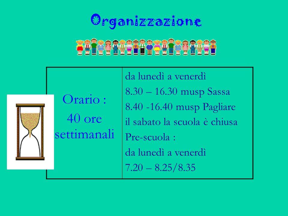 Organizzazione Orario : 40 ore settimanali da lunedì a venerdì