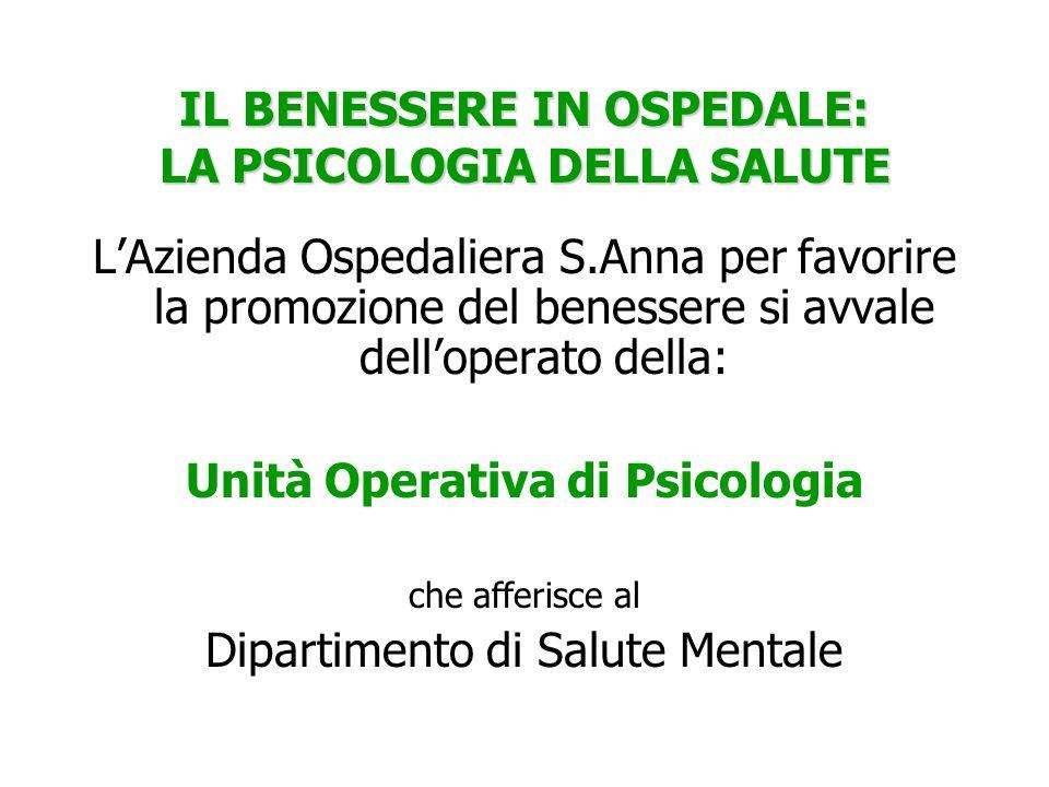 IL BENESSERE IN OSPEDALE: LA PSICOLOGIA DELLA SALUTE