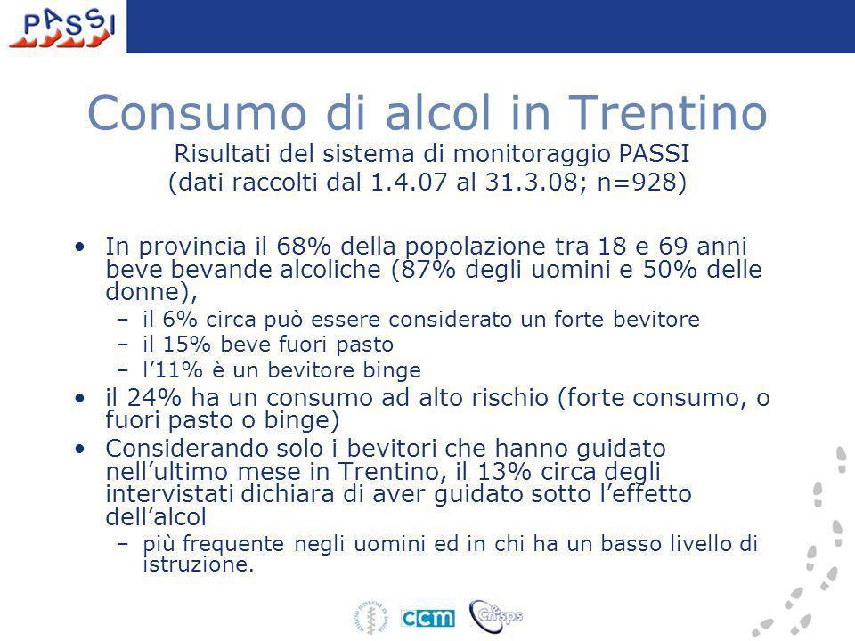 Consumo di alcol in Trentino Risultati del sistema di monitoraggio PASSI (dati raccolti dal 1.4.07 al 31.3.08; n=928)