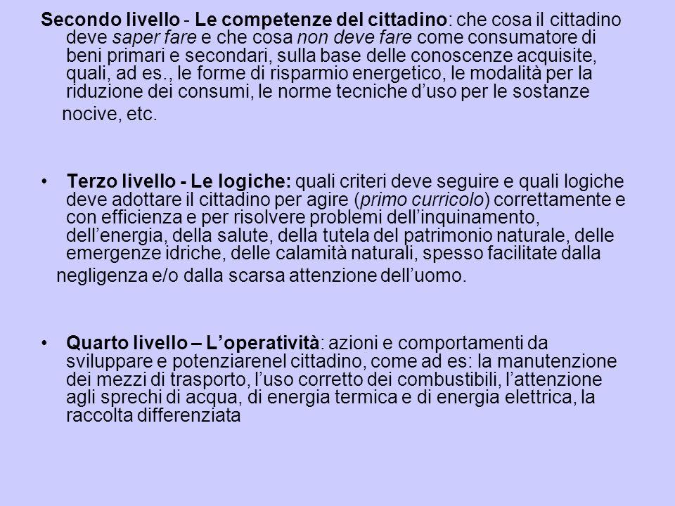 Secondo livello - Le competenze del cittadino: che cosa il cittadino deve saper fare e che cosa non deve fare come consumatore di beni primari e secondari, sulla base delle conoscenze acquisite, quali, ad es., le forme di risparmio energetico, le modalità per la riduzione dei consumi, le norme tecniche d'uso per le sostanze