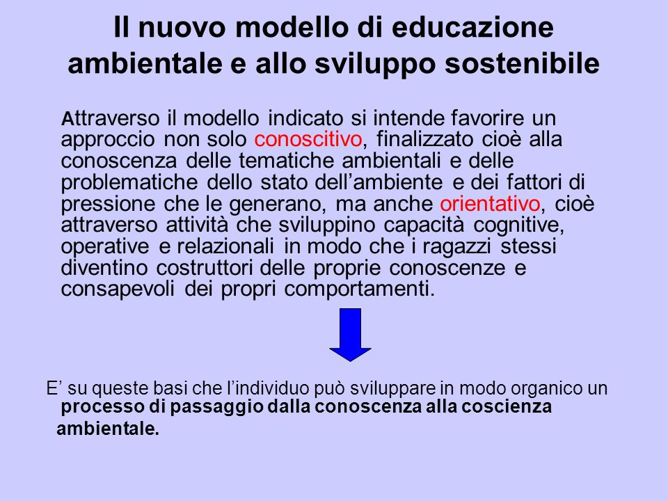 Il nuovo modello di educazione ambientale e allo sviluppo sostenibile