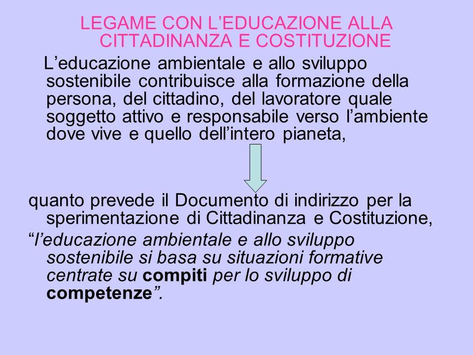 LEGAME CON L'EDUCAZIONE ALLA CITTADINANZA E COSTITUZIONE