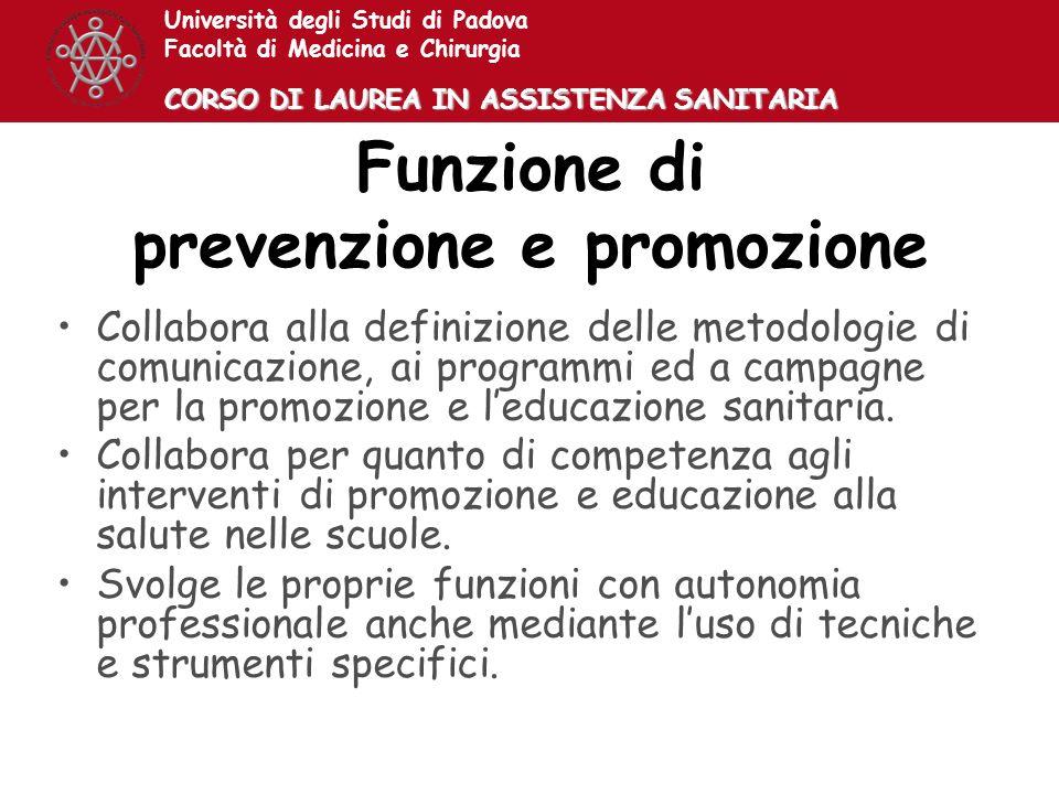 Funzione di prevenzione e promozione