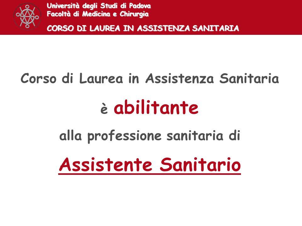 Corso di Laurea in Assistenza Sanitaria alla professione sanitaria di