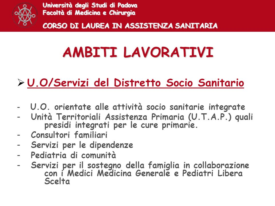 AMBITI LAVORATIVI U.O/Servizi del Distretto Socio Sanitario
