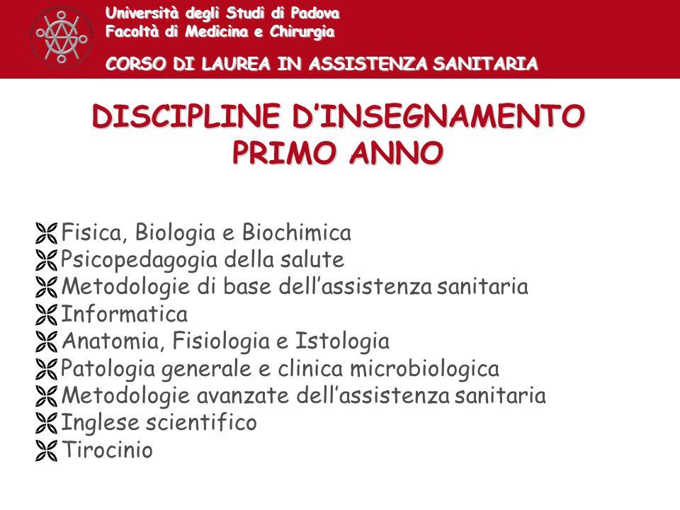 DISCIPLINE D'INSEGNAMENTO PRIMO ANNO