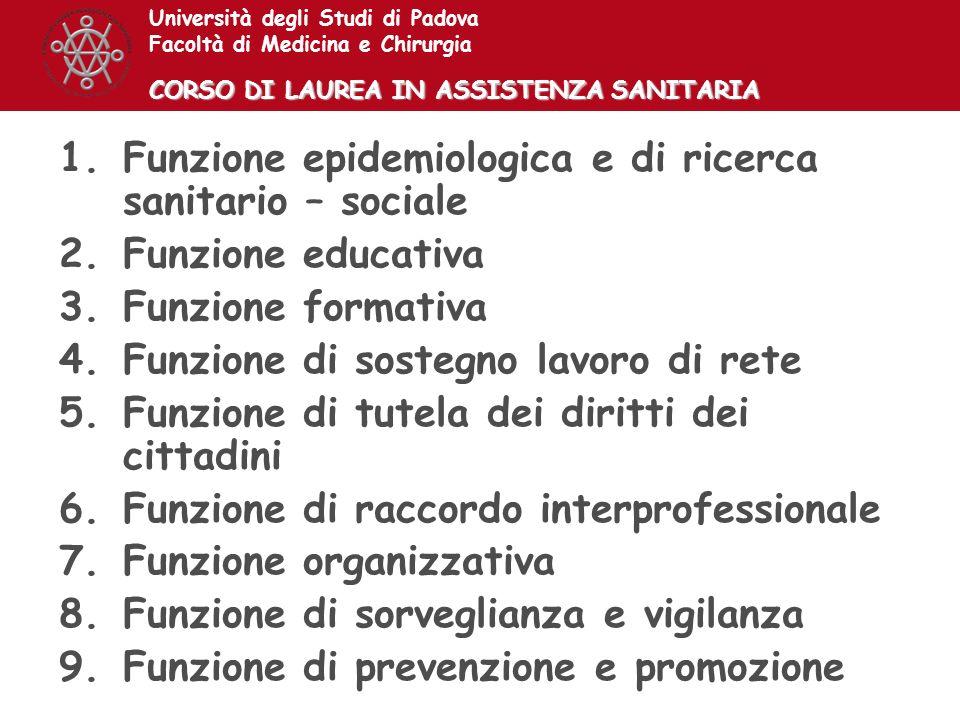Funzione epidemiologica e di ricerca sanitario – sociale