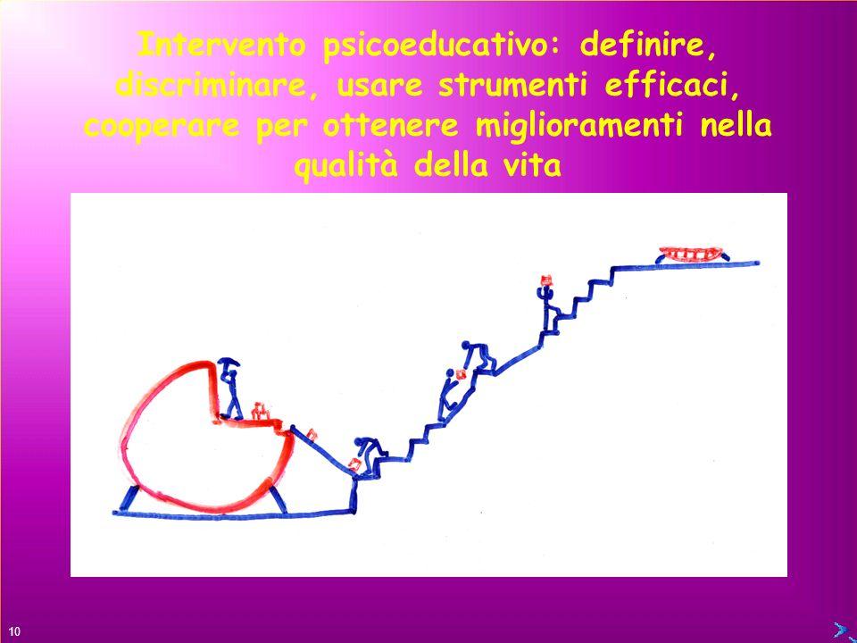 Intervento psicoeducativo: definire, discriminare, usare strumenti efficaci, cooperare per ottenere miglioramenti nella qualità della vita
