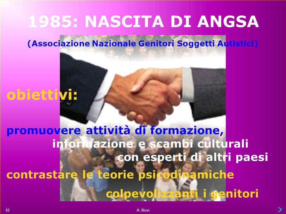 1985: NASCITA DI ANGSA obiettivi: promuovere attività di formazione,