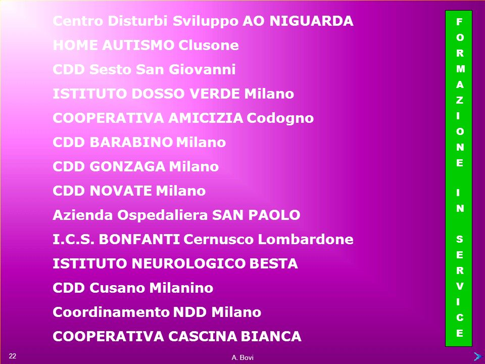 Centro Disturbi Sviluppo AO NIGUARDA HOME AUTISMO Clusone