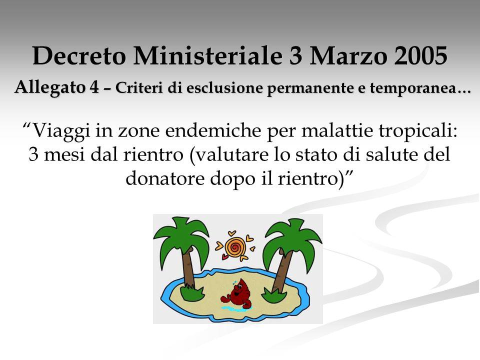 Decreto Ministeriale 3 Marzo 2005 Allegato 4 – Criteri di esclusione permanente e temporanea…