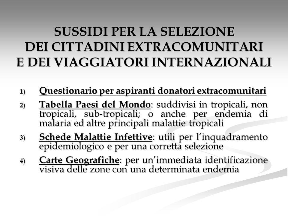 SUSSIDI PER LA SELEZIONE DEI CITTADINI EXTRACOMUNITARI E DEI VIAGGIATORI INTERNAZIONALI