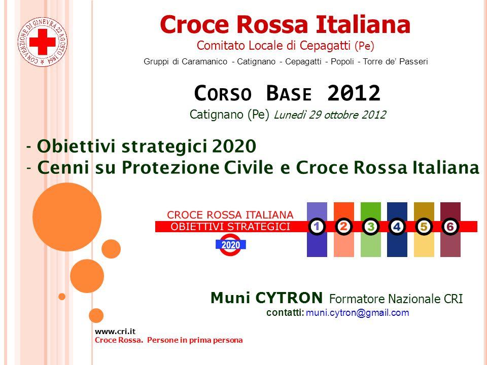Croce Rossa Italiana Corso Base 2012 - Obiettivi strategici 2020