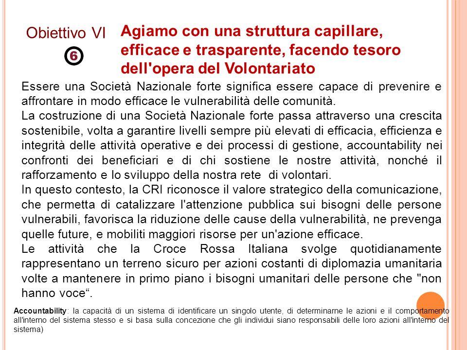 Obiettivo VI Agiamo con una struttura capillare, efficace e trasparente, facendo tesoro dell opera del Volontariato.